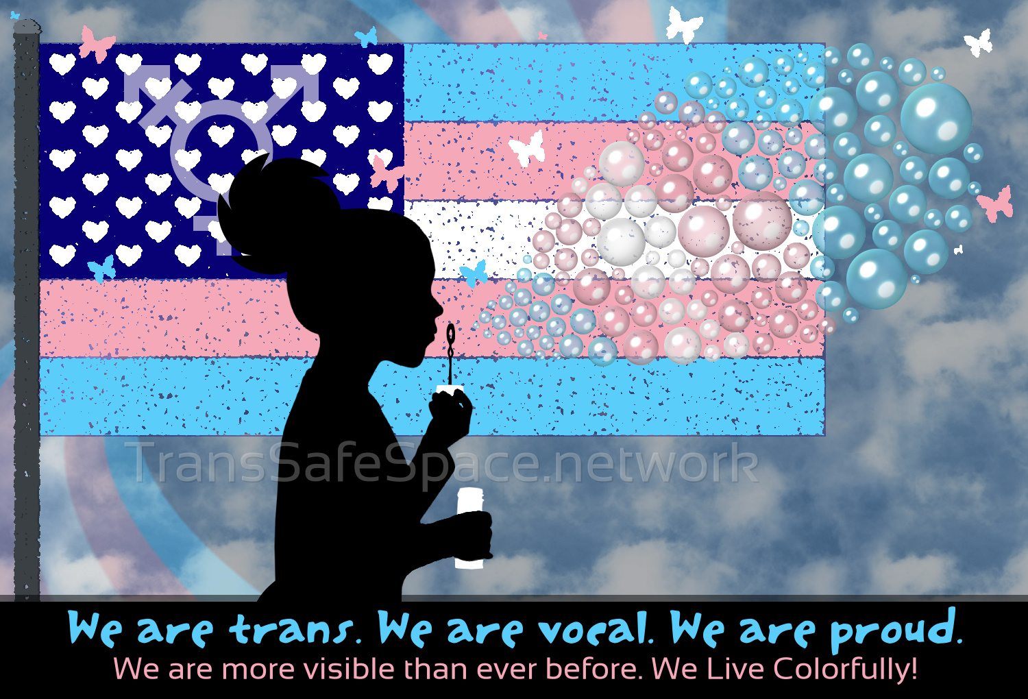 America Trans Flag Girl Blowing Bubbles meme